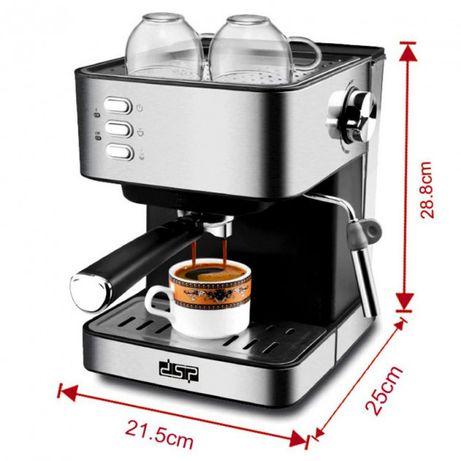 Кофемашина полуавтоматическая 850W с капучинатором DSP Espresso Coffee