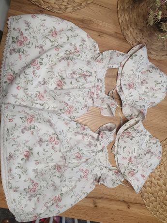 Newbie sukienki bliźniaczki kapelusz komplet 80/86