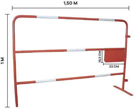 Barreira de segurança vermelha/branca de obra 1500mm c/ chapa p/ logo