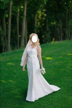 Свадебное платье, А-силуэт, со шлейфом