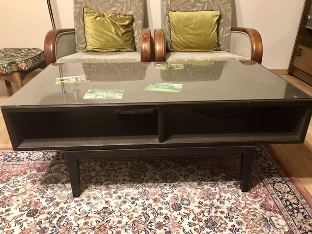 stolik kawowy Ikea kolor wenge z szybą