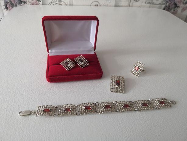 Piękny elegancki komplet biżuteri - srebro 925.