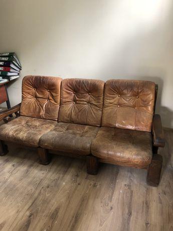 Sofa skórzana dębowa