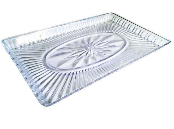 Patera taca na ciasto prostokątna plastikowa 33x21 cm