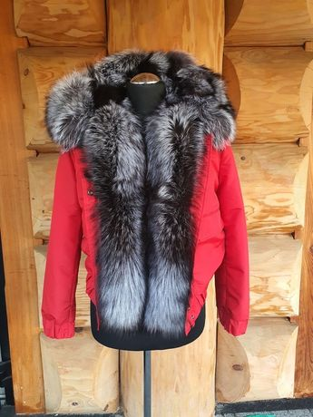 Czerwona kurtka damska! Lis srebrny, rozmiar S