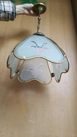 Candeeiro em metal dourado e vidro Retro