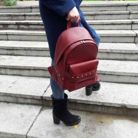 Женский рюкзак эко-кожа, повседневный, школьный, красный, кожаный