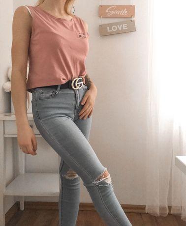 Bluzka krótka brudny róż lato modna