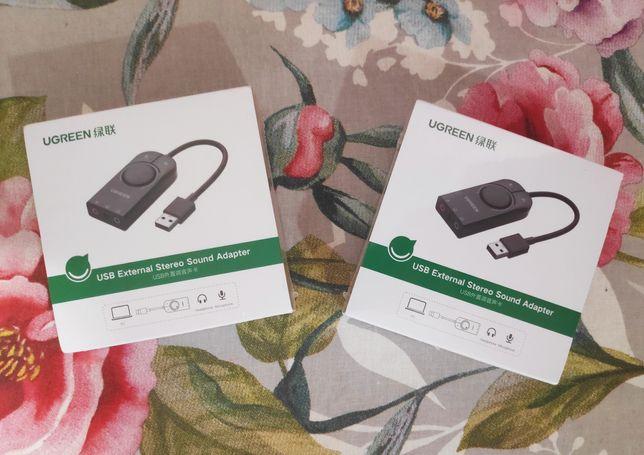 Внешняя звуковая карта Ugreen CM129 USB AUX 3.5мм mini-jack аудиокарта