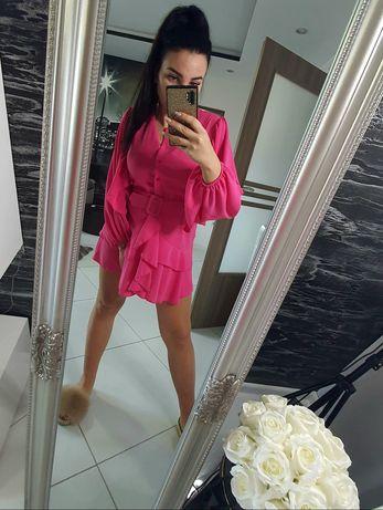 Sukienka koszula z paskiem fuksja rozmiar S M