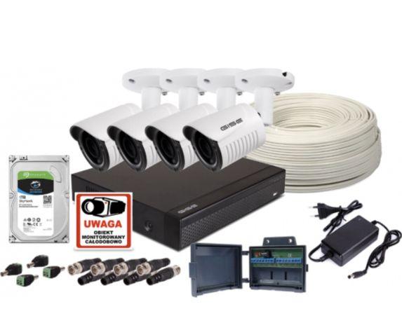 Monitoring Zestaw 4 kamery rejestrator dysk i akcesoria Montaż