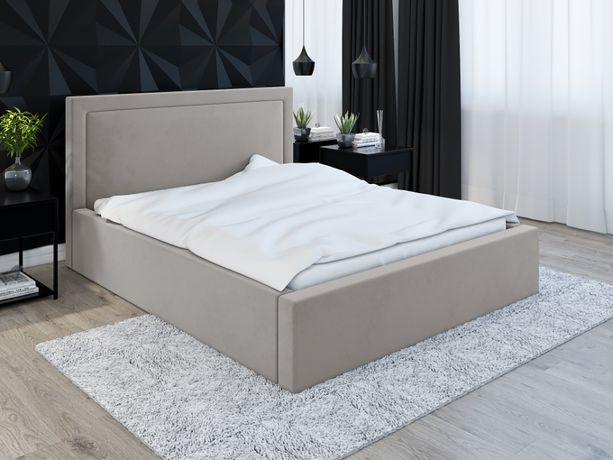 Proste tapicerowane łóżko dwuosobowe ROZELL z materacem 140x200