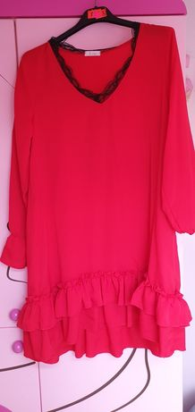 Sukienka czerwona falbanka LOE koronka nowa
