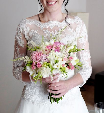 Suknia ślubna długi welon bolerko z koronki