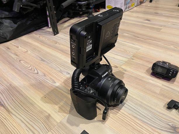 Zestaw Canon R, obiektywy, Atomos Ninja V, lampa i inne