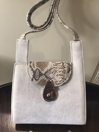 Женская кожаная сумка Amelie Pelletteria Беж Итальянский брэнд