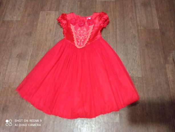 Платье, красное,нарядное, 6-7 лет ,Feshionclassic
