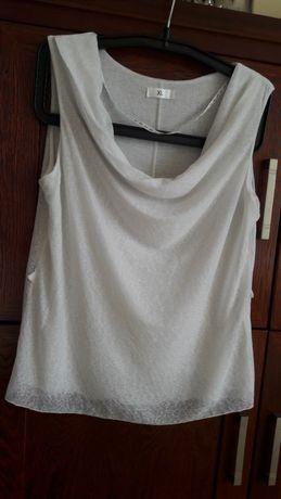 Bluzka na ramiączka biała L-XL dekolt dekoracyjny marszczony żabot