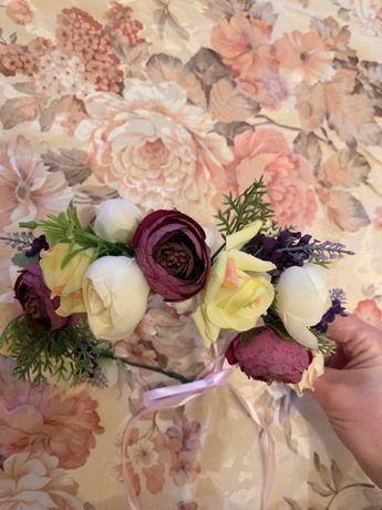 Обруч нарядный, венок цветы, ручная работа