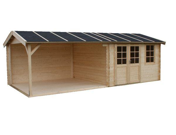 OD RĘKI Domek drewniany z wiatą, zadaszeniem świerkowy 7,7×3,5×2,57h