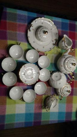 Serviço porcelana chá completo com dourados e flores – Antiga SP Coimb