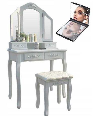Biała Toaletka Kosmetyczna Z Lustrem Taboret + Lusterko LED