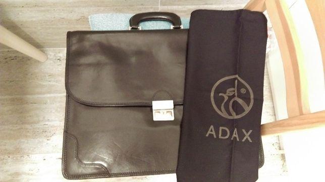 Teczka skórzana czarna nowa, oryginalnie zapakowana, ADAX