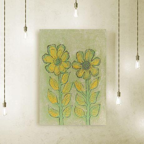 skandynawski rysunek na scianę,grafika do pzredpokoju, kwiaty rysunek