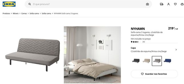 Sofá-cama IKEA castanho/cinzento