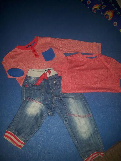Super zestaw jeansy+koszulka z długim i krótkim rękawem rozm.86/92