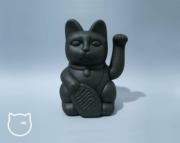Maneki Neko / Gato Sorte de design - preto grafite 18 cms
