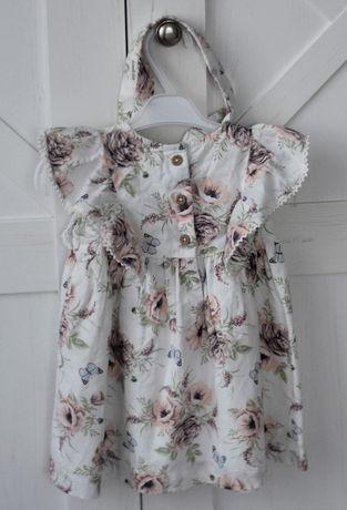 Cudna sukienka w róże Newbie rozm. 74 plus opaska