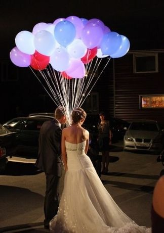 Balony ledowe niespodzianka na wesele, baony z helem led