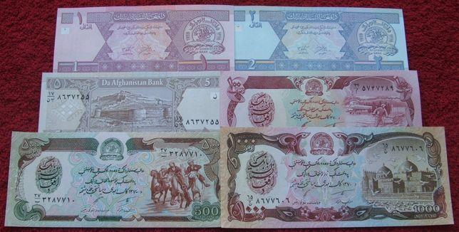 AFGANISTAN Kolekcjonerskie Banknoty Zestaw - 6 sztuk UNC