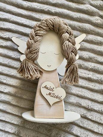 Anioł Miłości drewniany figurka ślub wesele prezent
