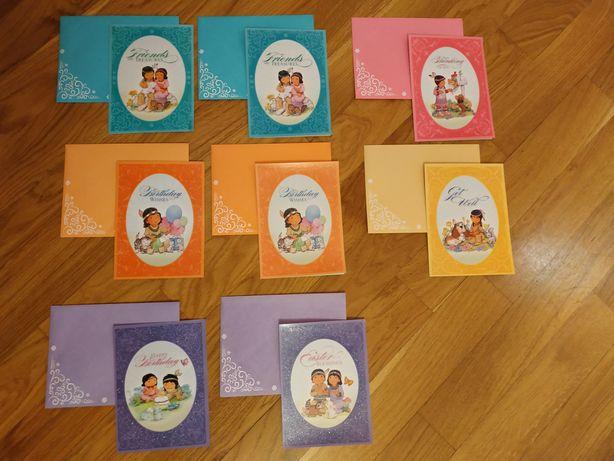 Листівки з конвертами, 8 шт., Birthday, Thinking of you, Get well