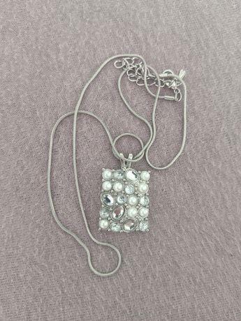 Piękny łańcuszek perełki srebrny Nowy!