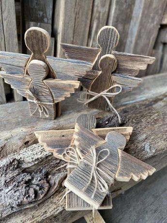 Anioł duży ze starego drewna Drewniane anioły Rękodzieło Hand made