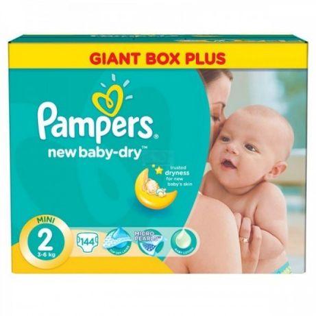 Акция на коробку! Подгузники Pampers New Baby 2 Mini (3-6кг) 144 шт