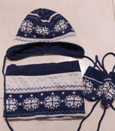 Zestaw zimowy czapka komin rękawiczki dla niemowlaka