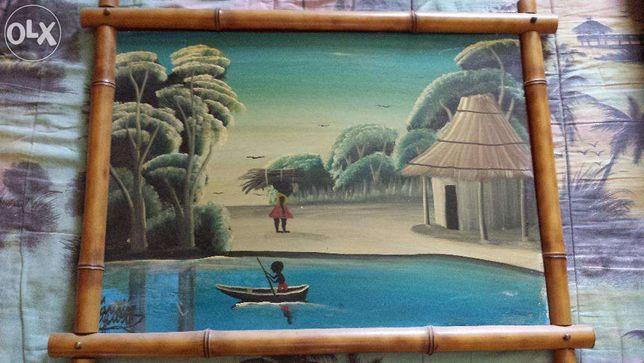 3 Quadros em Cana/Vidro - Africano