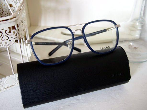 Okulary Prada oprawki granatowe zerówki cienkie eleganckie