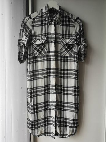 Koszula w czarno-białą kratę, bluzka, tunika, D Perkins, S/36, 35zł
