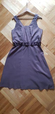 Sukienka brązowa Reserved rozmiar 42 rozkloszowana pasek bdb