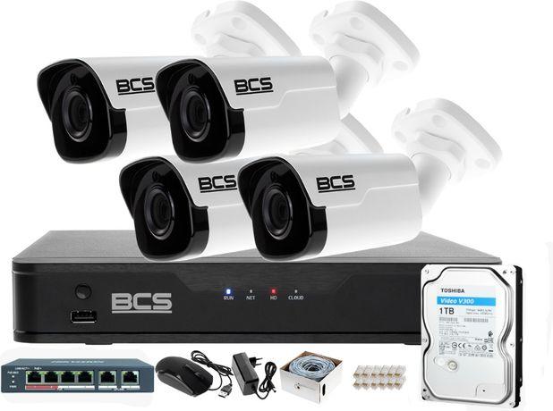 Zestaw IP BCS Point Rejestrator z 4 Kamerami FullHD + Akcesoria