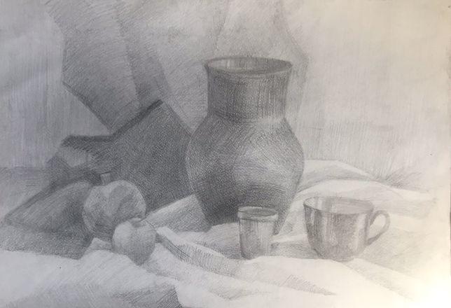Рисунок карандашом42/60.Натюрморт с молочником.