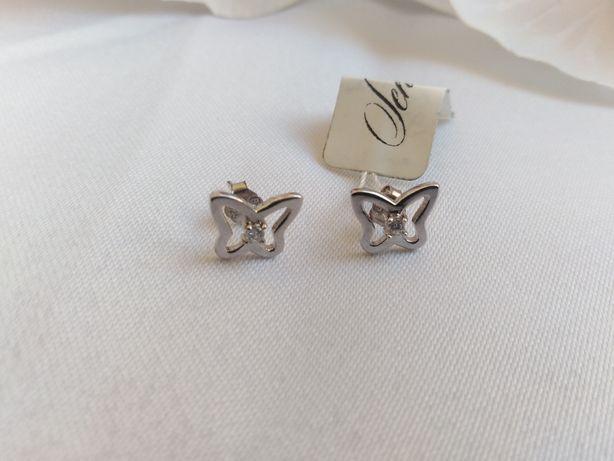 Kolczyki sztyfty srebrne motylki z cyrkonią srebro