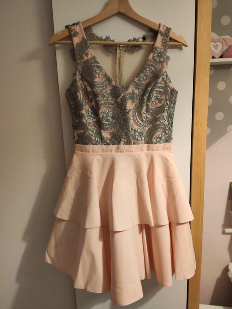 Piękna sukienka wesele, studniówka - koronka, siateczka, guziki