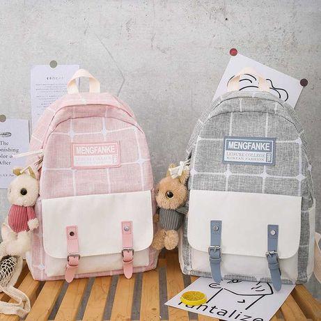Тканевый школьный рюкзак с игрушкой (Разные цвета)