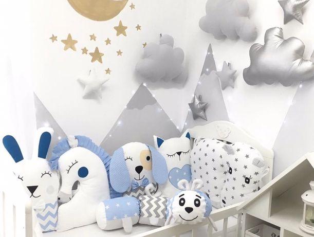 Бортики игрушки зверюшки іграшки звірята постіль защита в кроватку